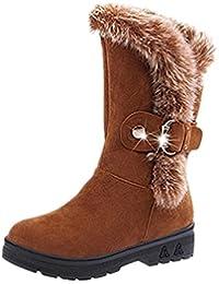 DYF Chaussures Femmes Bottes européenne Solide Sangle de Genou à Fond Plat de Couleur Jaune,Chaud,40