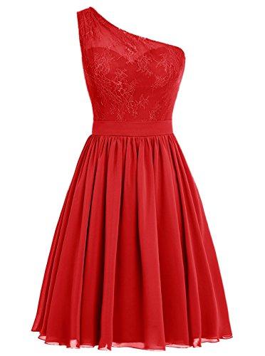 Dresstells Damen Kurz Brautjungfernkleider One Shoulder Abiballkleider Rot