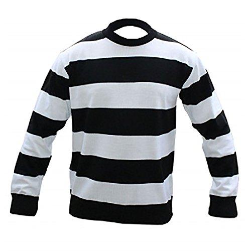 Wicked Fun Kinder Unisex Gefangene schwarz & weiß gestreift Strick jumper- Halloween Kostüm