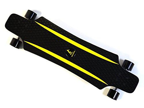 MAXOfit® Kunststoff Longboard XP 5.0 (schwarz/gelb), 92 cm, extrem robust und sehr gut lenkbar, der neueste Trend