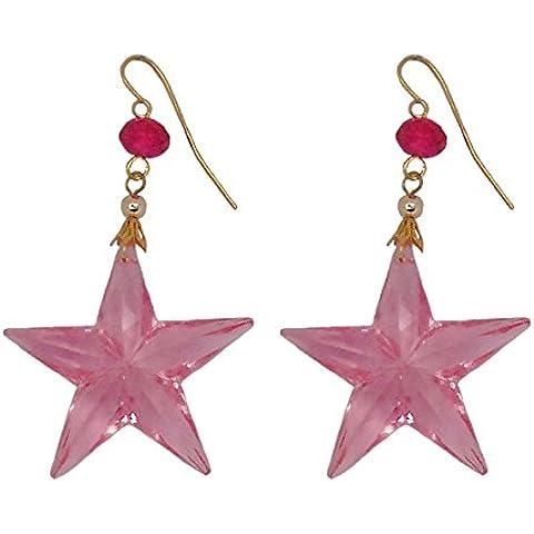 REIKO PINK - Orecchini fatti a mano, stella cm. 4 in resina Rosa, gancio a monachella dorata, nickel free, lunghezza cm. 5.5