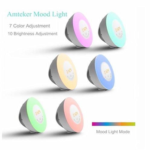 HOU LED-Anzeige 7 Farben Atmosphäre Lampe, Sonnenaufgang Aufwachen Licht Wecker,White,18*18*10.5Cm (Batterie-backup-50000)