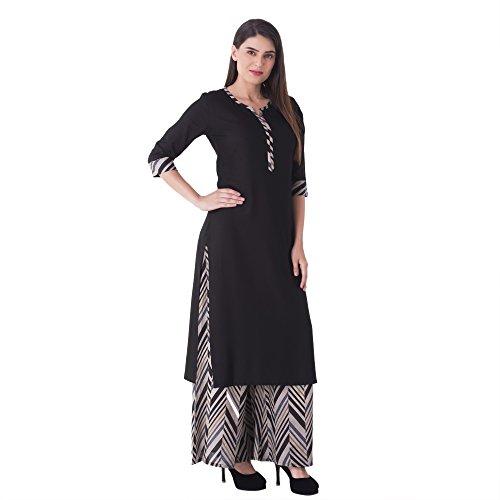 KHUSHAL Women's Cotton Kurta & Palazzo Set(Black_Medium)