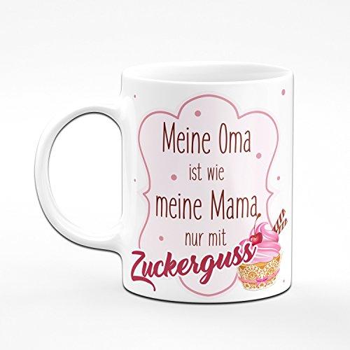 Tasse Meine Oma ist wie Meine Mama nur mit Zuckerguss - Kaffeetasse Geschenk für Oma von Enkeln - Geschenke für Großeltern (Weiss) - 2