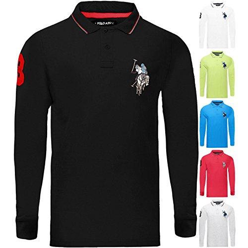 U.S.POLO ASSN. New US Polo ASSN Genuine Mens Long Sleeve Pique Polo Shirt Top | Big Pony S-XXL
