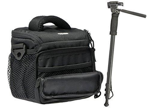 Foto Kamera Tasche ACTION BLACK M Set mit Einbein Stativ für Panasonic Lumix DMC- FZ1000 FZ300 FZ200 FZ72