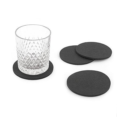 Oblique-Unique® Filzuntersetzer rund 4er Pack für Tisch und Bar - Glasuntersetzer Untersetzer aus Filz (Dunkelgrau)