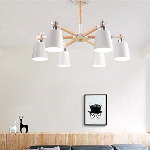 6/3 Lite Kronleuchter Lampe (DEED Deckenleuchte - Nordic kreative Massivholz Lampe Körper Eisen Lampenschirm schwarz hoher Licht Kronleuchter einfache Studie 3/6/8-Lampe -Home warme Deckenleuchte,W-6-lights-Dreifarbiges Dimmen)