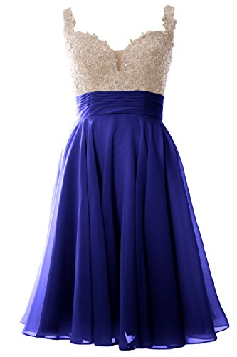 MACloth Women Straps Short Prom Dress Lace Chiffon Wedding Party Formal Gown (36, Royal Blue) (Womens Blue Prom Dresses)