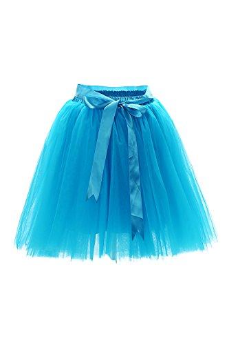 Babyonline® Damen Prinzessin Falten Rock Vintage Kleid Spitzen Rock Midirock Ballettrock Tüllrock Unterrock Knielang, Blau, One Size / Einheitsgröße (Region 10 Kostüm)