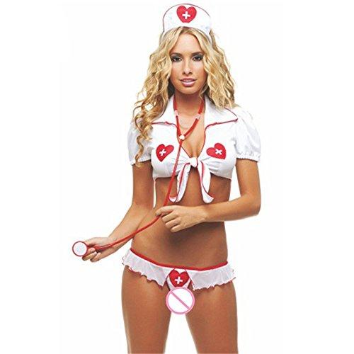 Macxy - XL Plus Size Sexy Wäsche-Weiß-Sexy Krankenschwester-Kostüme Porno Lingerie Sexy Rollenspiele Frauen-Geschlechts-Unterwäsche [XL]