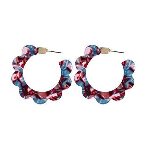Ohrstecker Silber 925-6 Farben Kreative Geometrische Acetat Ohrringe Wellen Blumen Form, Ohrringe für Mädchen Frau Damen, Hochwertige Acryl Ohrhänger Hypoallergen (Mehrfarbig)