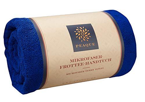 PEAQUE Große Mikrofaser Frottee-Handtücher im 2er Set, antimikrobiell - Strandtuch Strandhandtuch Reisehandtücher Saunahandtuch Fitness-Handtuch (Royal blau, 100 x 200 cm (2 Stück))