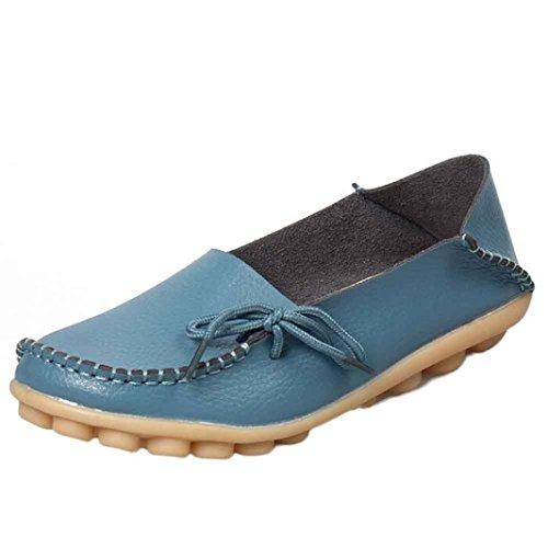 Soft Comfort Schuhe (Stiefel Damen Flache Schuhe Sonnena Neue Frauen Lederschuhe Slipper Soft Leisure Einzel Schuhe Halbschuhe Comfort Sohle Freizeitschuh Frühling Herbst Outdoor Casual Shoes (38, Sexy Blau))