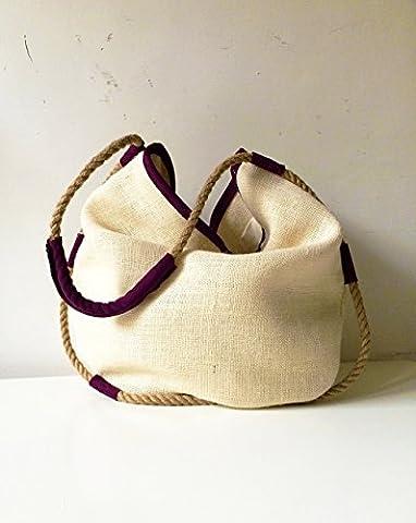 Umhängetasche aus Leder violett und Jute, limited edition BBagdesign. (Geschenke Für Den Mann Online-shopping)