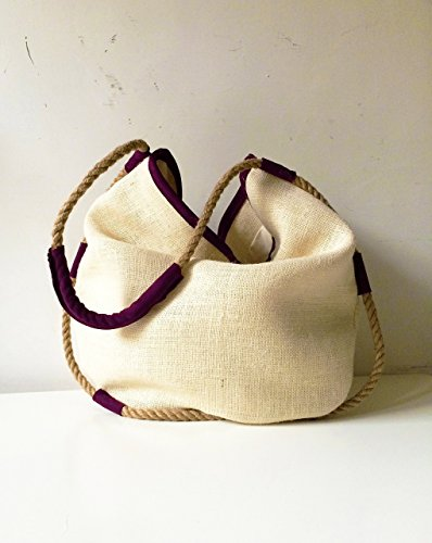 Suede jute handbag with hemp rope, women purse bag, handmade handbags limited edition BBagdesign.