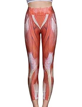 Yujeet Mujer Verano Alta Cintura Músculo Impresión Yoga Leggings Fitness Running Casual Yoga Pantalones
