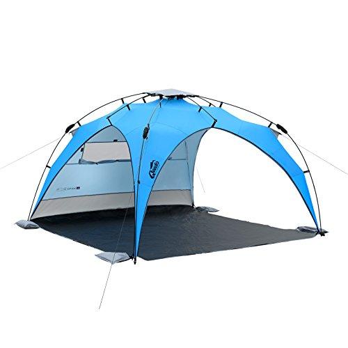 Qeedo Familien Strandmuschel Quick Plane, Strandzelt mit UV-Schutz, Sonnenschutz (Strandpavillon) - blau