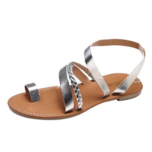 Byste sandali punta aperta donna, scarpe roma piatto casual tacchi bassi estate tacco basso,clip toe sandali antiscivolo scarpe da spiaggia piatto scarpe piattaforma (argento, 39 eu(40cn))