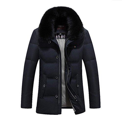 YANXH Winterkleidung The New Thickening Herren Pelzkragen Daunenjacke , black , xxl