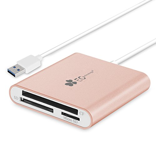EC Technology 3in1 USB 3.0 Kartenleser Ultra Highspeed mit Kabel für SDXC, SDHC, SD, CF, Highspeed-CF (UDMA), M2, Micro-SDXC, Micro-SDHC, Micro-SD Karten [Unterstützt UHS-I Karten]-Roségold (Ipad-compact-flash-reader)