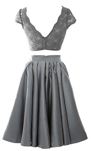MACloth Women 2 Piece Cocktail Dress Cap Sleeves Short Lace Prom Formal Gown Himmelblau