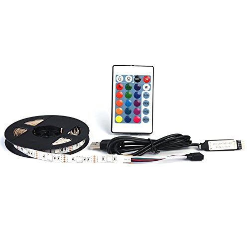 Luz Trasera de LED TV Tira de 5V USB con Control Remoto 50 RGB 16 Luz de Polarización para TV de Alta Definición Fondos Socialme-EU(3M)