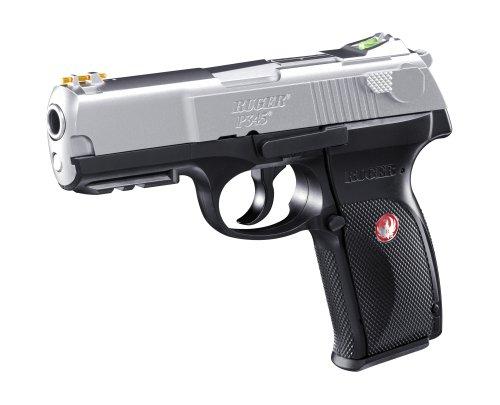 Set (P18): RUGER P345 bicolor Kal. 6 mm Softair - Waffe (2.5638) mit ca. 2,0 Joule !! + 1000 Umarex Plastik BB 0,20 g im Beutel + 5 Co2 Kapseln + 10 ShoXx.® shoot-club Zielscheiben