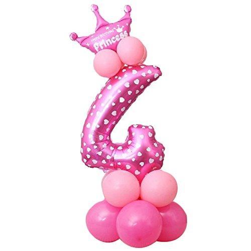 16 STÜCKE 32 Zoll Aluminium Film Digit Anzahl Ballon für Jungen Mädchen Baby Shower Birthday Party Dekoration Lieferungen Set Rosa Nummer 4