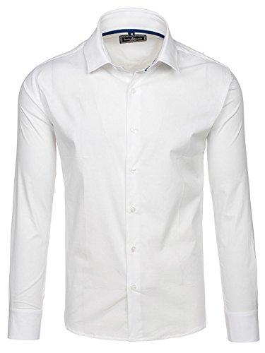 BOLF Herren Business Hemd Langarm Elegant Grande ETERNITA GEM01 Weiß M [2B2] (Weste Ohne Kragen Anzug)