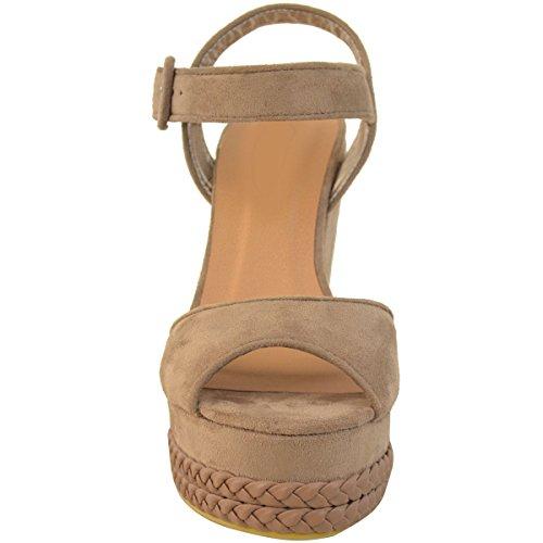 Donna Zeppe Tacco Alto Sandali Estivi Caviglia Con Spalline Plateau Scarpe Numeri Mocha Marrone Camoscio Sintetico