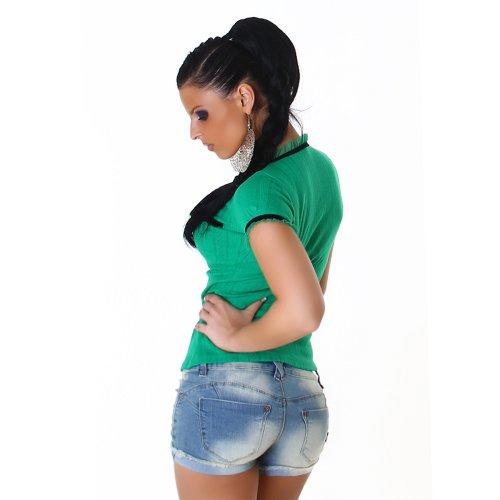Damen Top Shirt Blusenshirt Onesize trendige Farben Grün