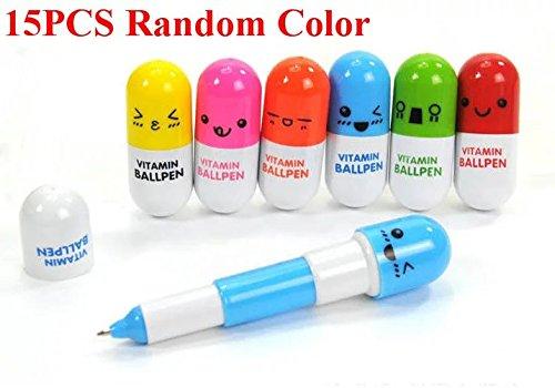 E-Goal Mehrfarbig nette Kapsel-Pillen Kugelschreiber für Schule Schreibbedarf Schreibwaren -15PCS