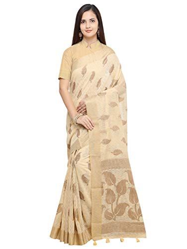 Pisara Women Banarasi Jute Silk Saree,Cream Sari