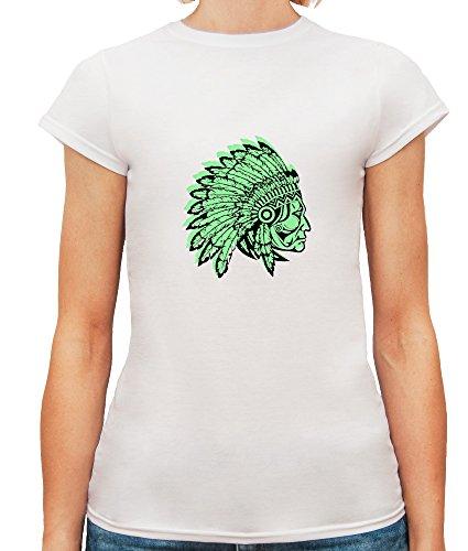 Mesdames T-Shirt avec Native American with Green Contour Illustration imprimé. Blanc