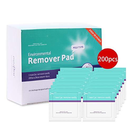 Beito Paquete de 200 almohadillas desechables para remover esmalte de uñas Soak Off Gel Nail Wraps Removedor de esmalte de paquetes sellado individualmente