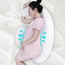 LANGRIA Almohada de Embarazo, Cojín de Lactancia, Diseño Ergonómico y Contorneado de Forma como Luna para Soportar el Cuerpo, (37.4 W x 24.8 - 29.5 D x 6.3 inches H), Blanco