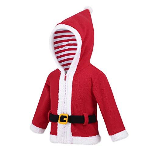 CHICTRY Traje de Navidad para Bebe Niño Niña Manga Larga Disfraz de Santa Claus Infantil Traje de Papá Noel Sudadera con Capucha Abrigo De Navidad Fiesta Christmas Rojo 18-24 Meses