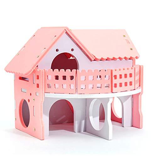 Xiton Haustier Kleines Tier Versteck Hamster Haus Deluxe Zwei Schichten Holzhütte Spielen Spielzeug Montiert Haus 1 PC