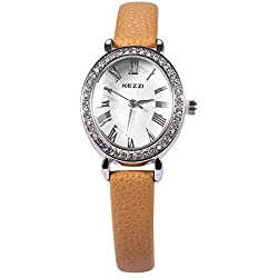 Leopard Shop kezzi Frauen Quarz Armbanduhr PU Leder Band Armbanduhr braun