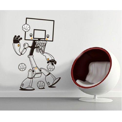 MZY LLC (TM) Schwarz Basketball Steht Sport Sport Robot Boy Zimmer Wandsticker Home Art Wand Aufkleber Decor