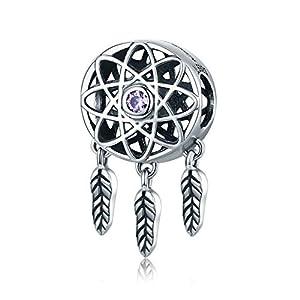 Fashion ciondolo a forma di cuore in argento Sterling 925Beautiful Girl acchiappasogni perline bracciale collana DIY donne gioielli