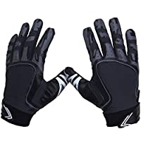 ‏‪Pure Athlete Football Receiver Gloves - Elite-Stick Silicone Gripping Technology - Adult/Youth Adult X-Large Black‬‏