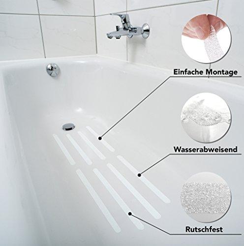 HYGGENDAHL 16x Premium Anti-Rutsch-Streifen für Dusche, Whirlpool und Badewanne | Selbstklebend, rutschfest und fast unsichtbar | Hygienische Alternative zur Antirutschmatte | mit Positionier-Schablone - 8
