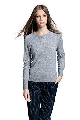 Oriental Pearl Damen 100% Kaschmir Pullover XL Grau