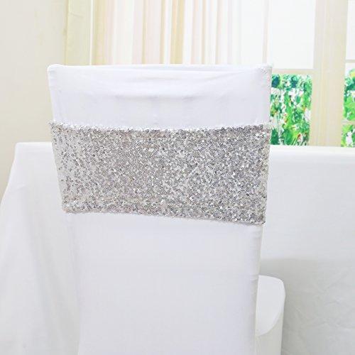 TRLYC Spandex Stuhl Pailletten Schärpen für Hochzeit Party Bankett Custom Größe und Farbe Qty: 10 Silber