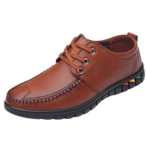 KonJin Business Leather Shoes Comfy Lightweight Round Toe Shoes Casual Lace-Up Non-Slip Wider Walking Shoes Slip-resistant Steel Toe Oxfords
