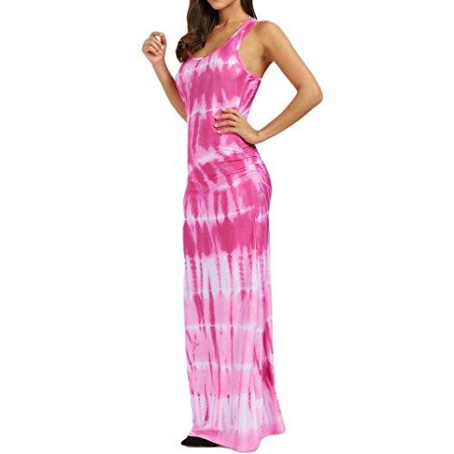 VEMOW Sommer Elegant Damen Ärmellos Bohemian Tie-Dye Illusion Print Racerback Lässig Täglichen Party Urlaub Dance Long Tank Beach Dress(Rosa, EU-38/CN-S) (Dye Michaels Tie)