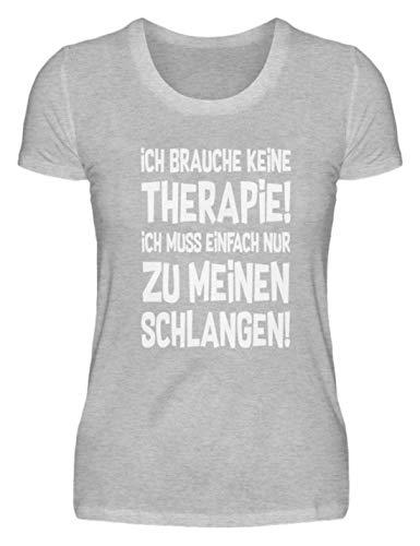shirt-o-magic Schlange: Therapie? Lieber Schlangen - Damenshirt -XXL-Grau (Meliert)
