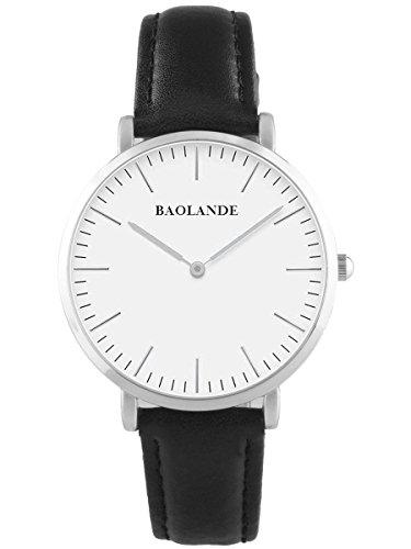 Alienwork-Classic-StMawes-Quarz-Armbanduhr-elegant-Quarzuhr-Uhr-modisch-Zeitloses-Design-klassisch-silber-schwarz-Leder-U04816M-01